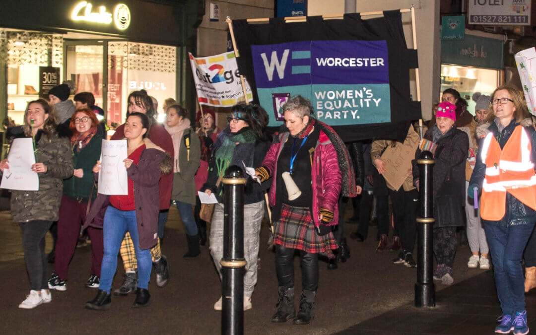 ACTIVISTS marched through the city centre blowing green trumpets and whistles to Reclaim the Night
